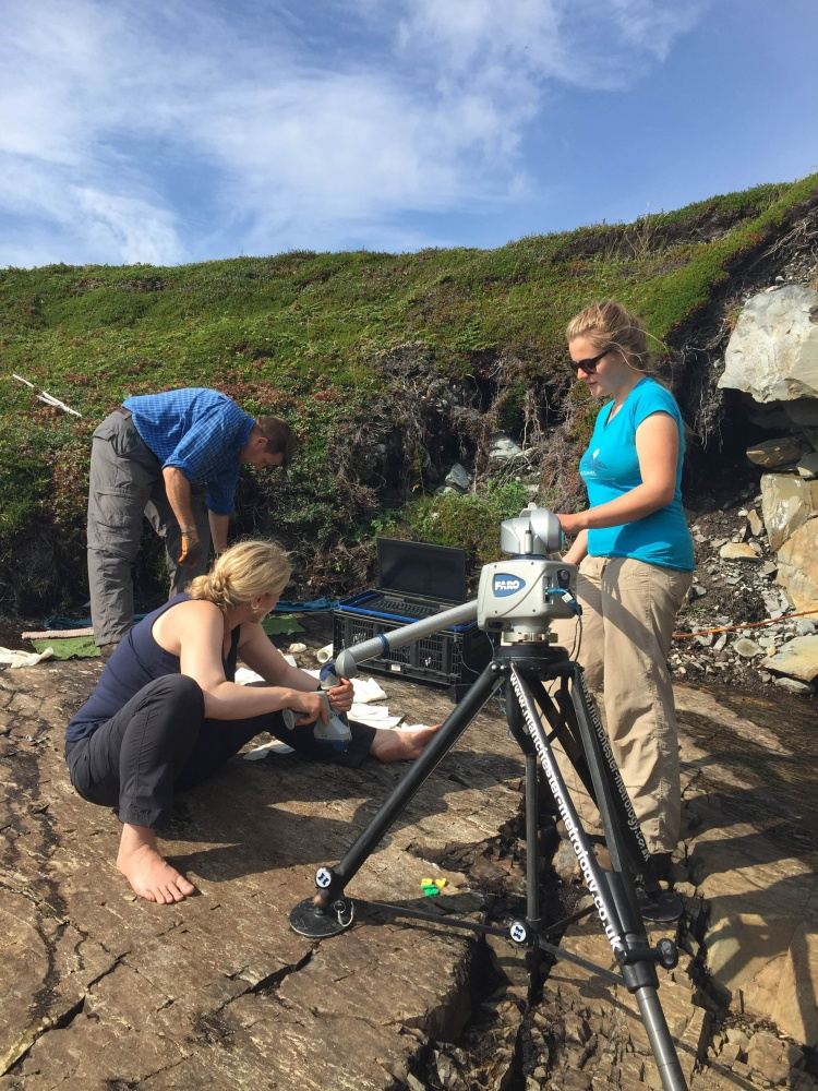 Emily Mitchell, as well as other researchers, are mapping fossils along the coastline in Little Catalina.
